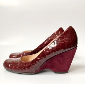 Franco Sarto | Croc Patent Leather Sly Wedges